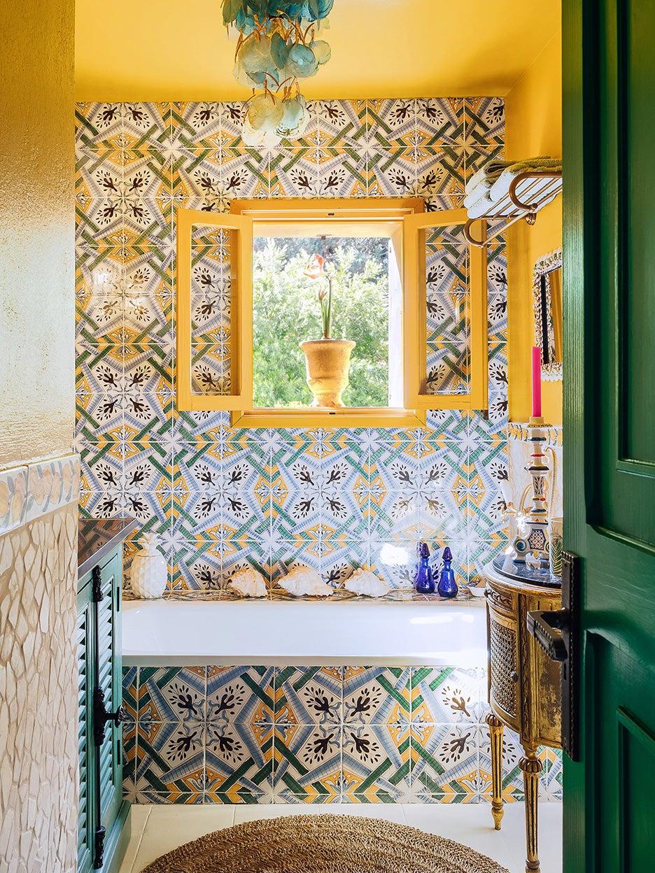 yellow tile bathroom