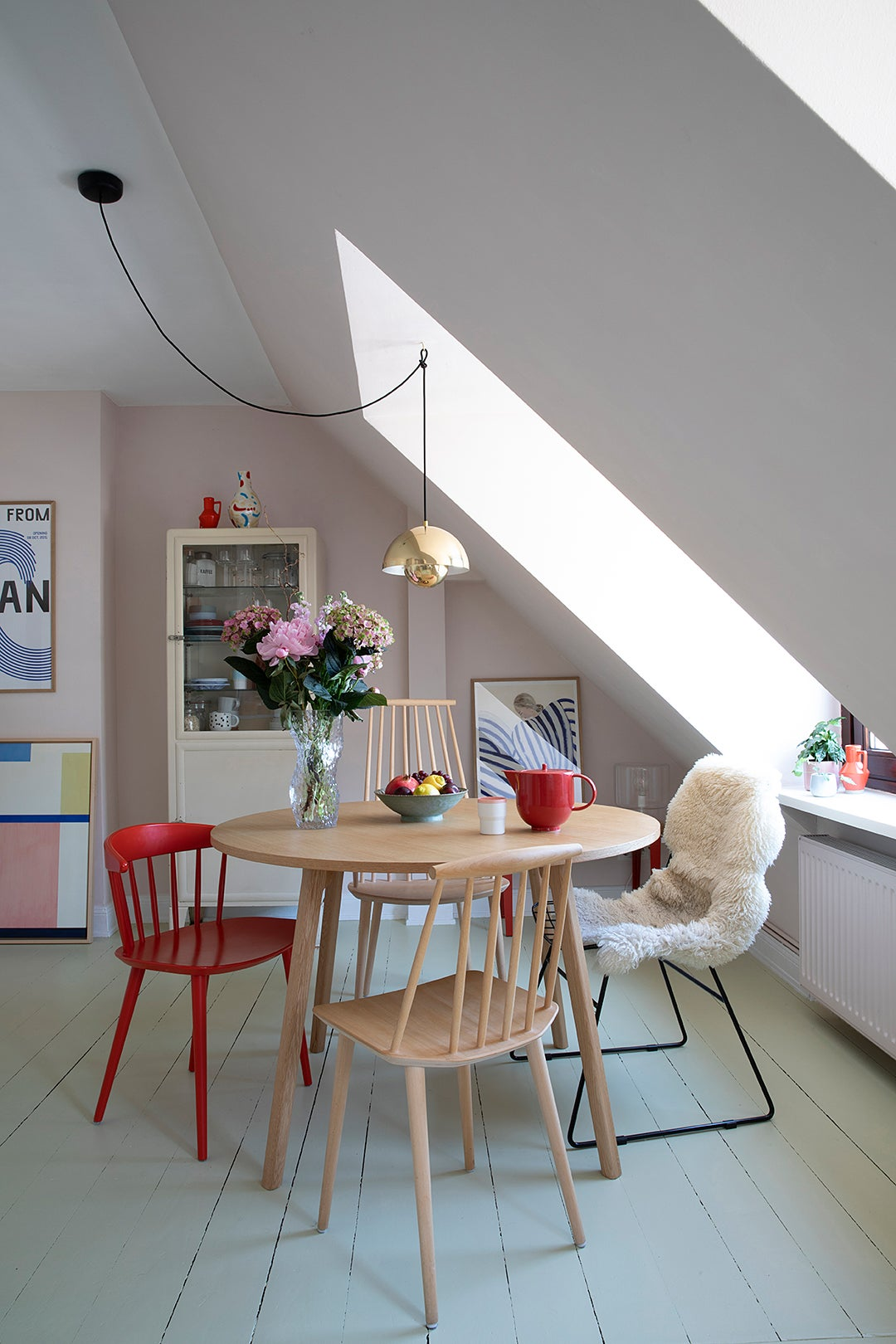 kitchen table with red chairs