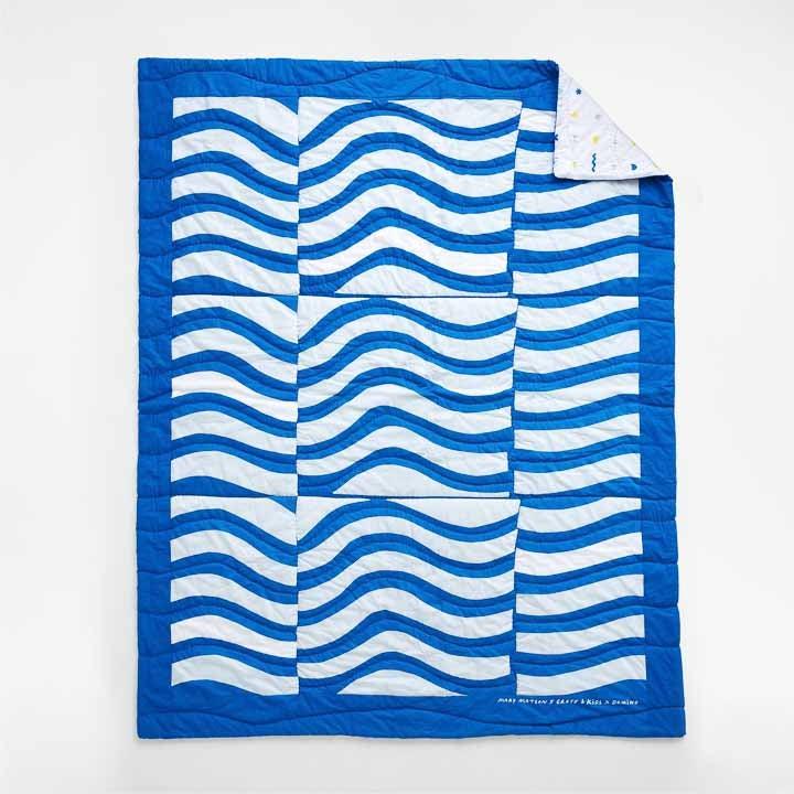 blue & white striped quilt