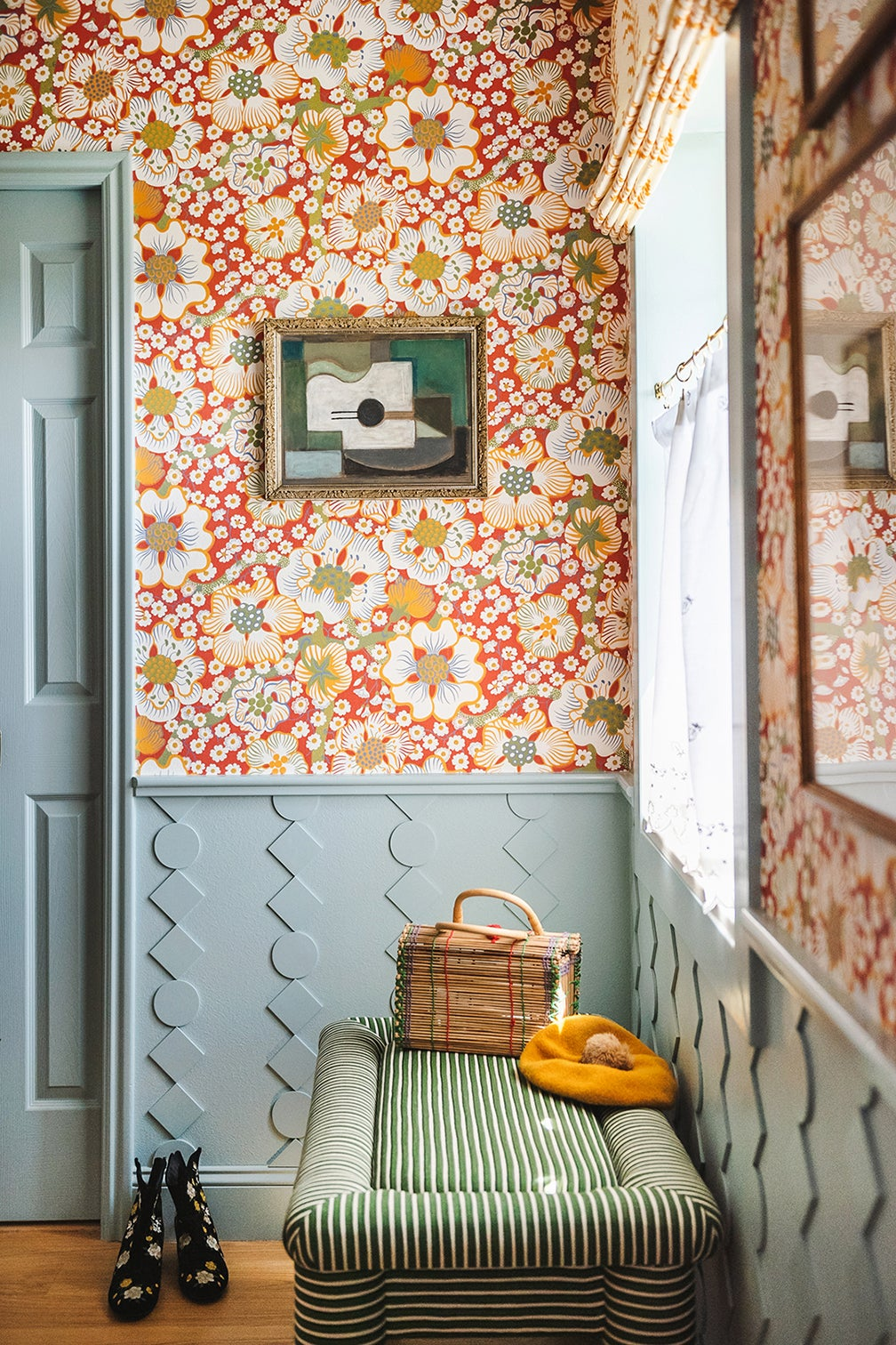 red wallpapered bathroom