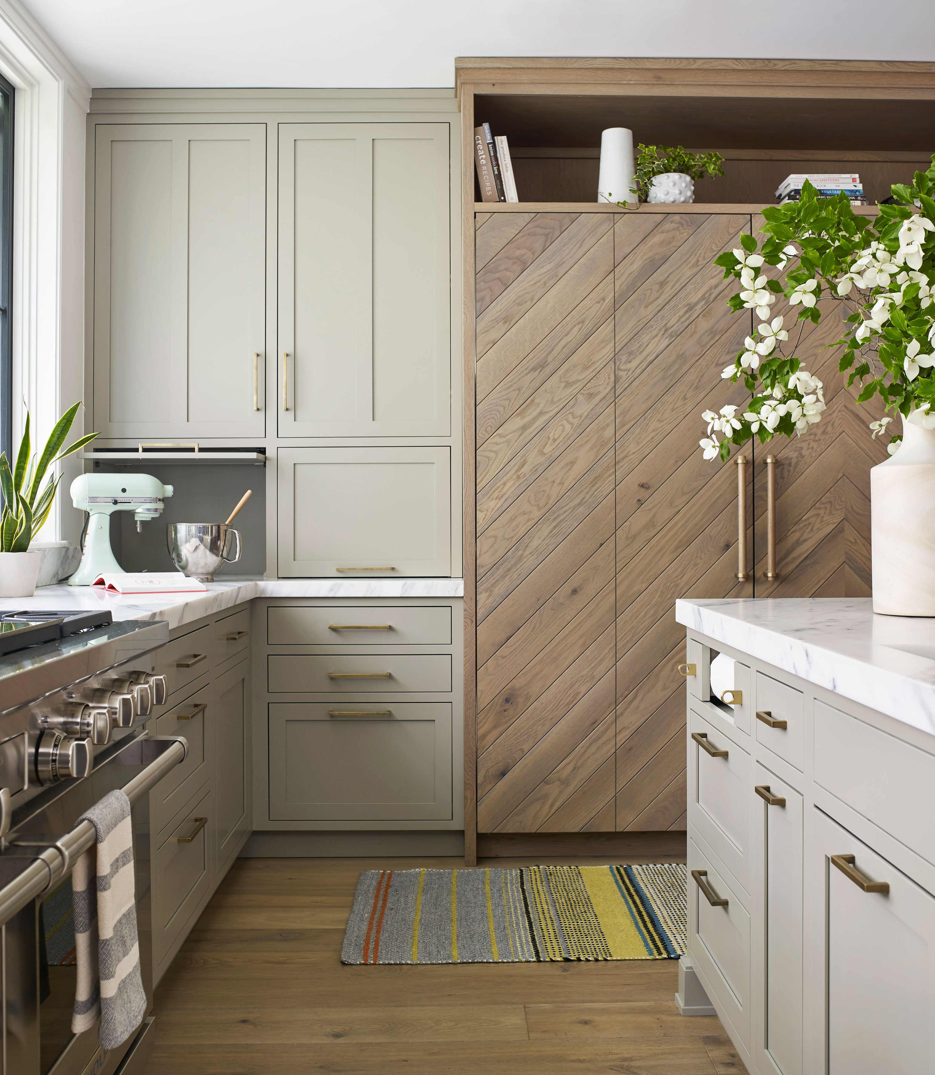 Gray Green Kitchen With Wood Cabinets