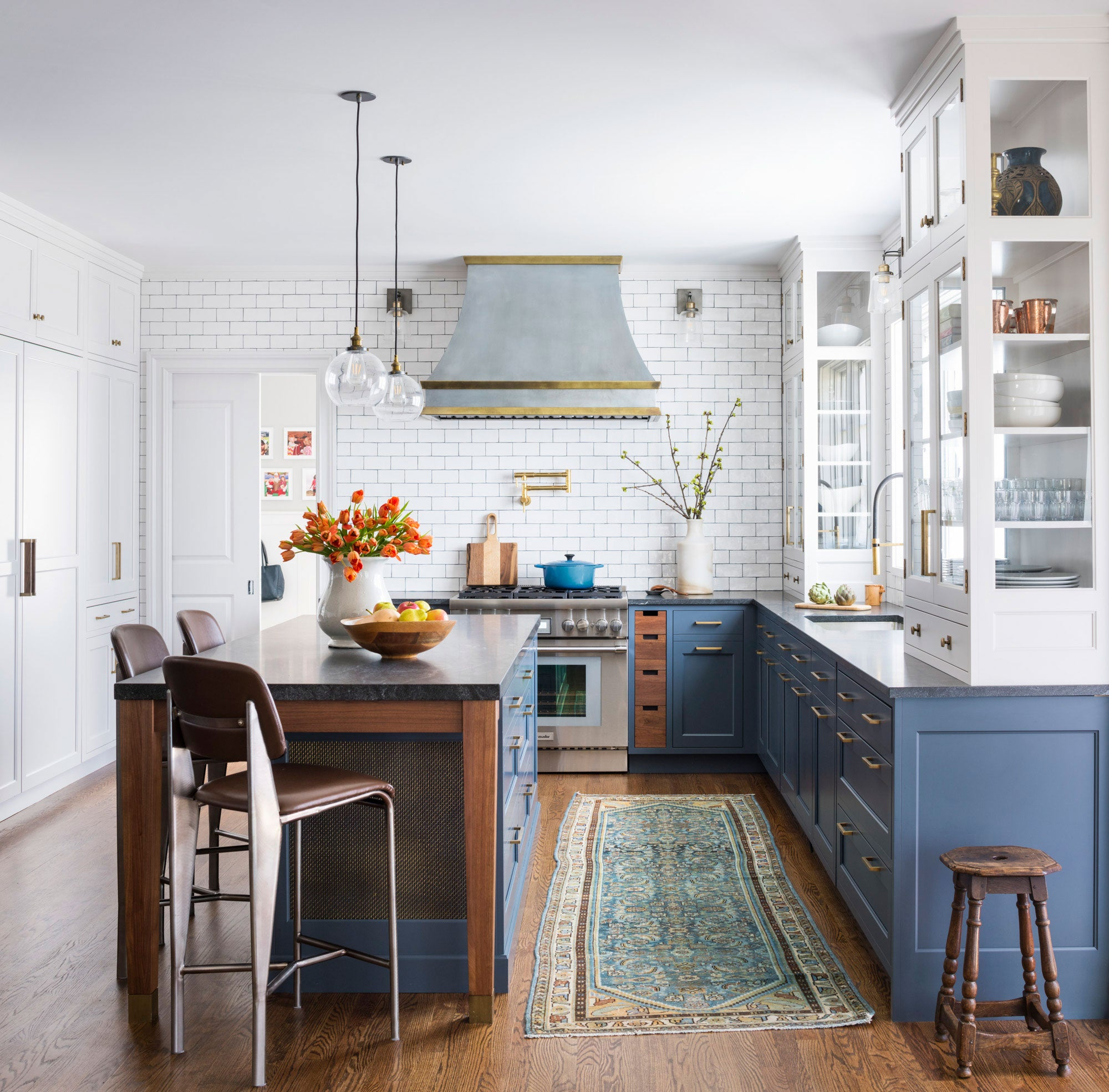 Blue and White Kitchen With Wood Tones