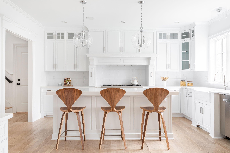 White Kitchen With Cherner Stools