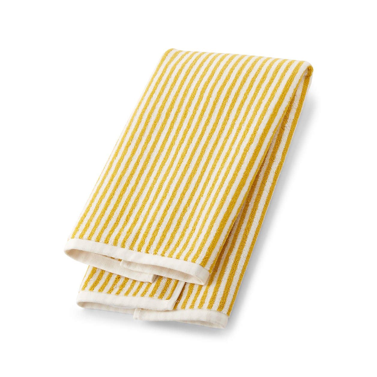 yellow striped hand towel