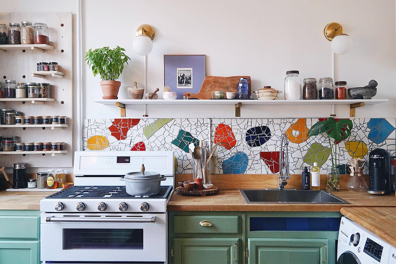 colorful mosaic backsplash