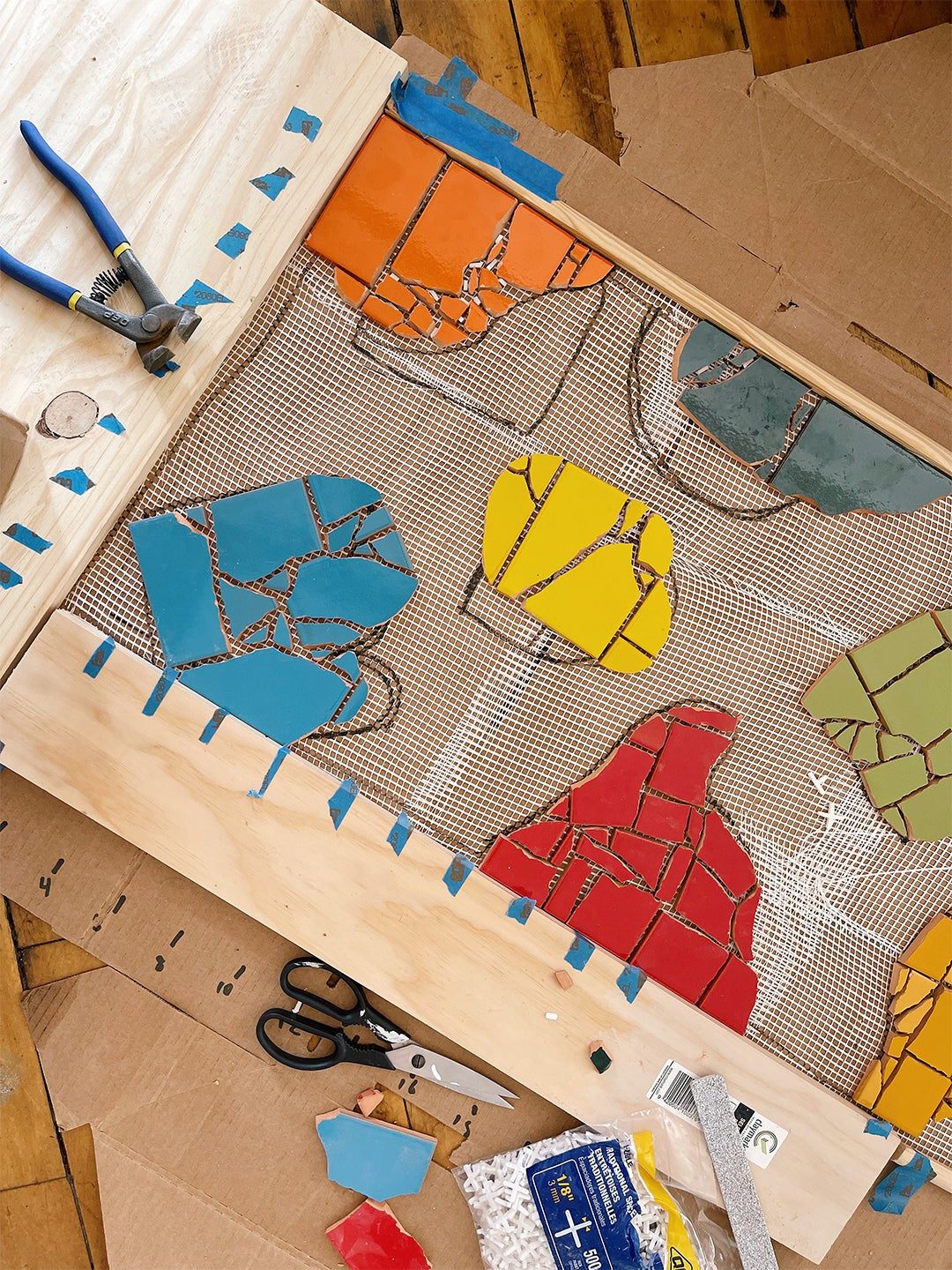 mapping out tile pieces