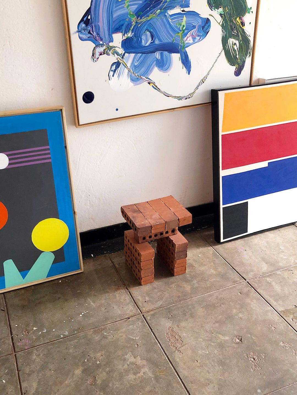 plain brick table