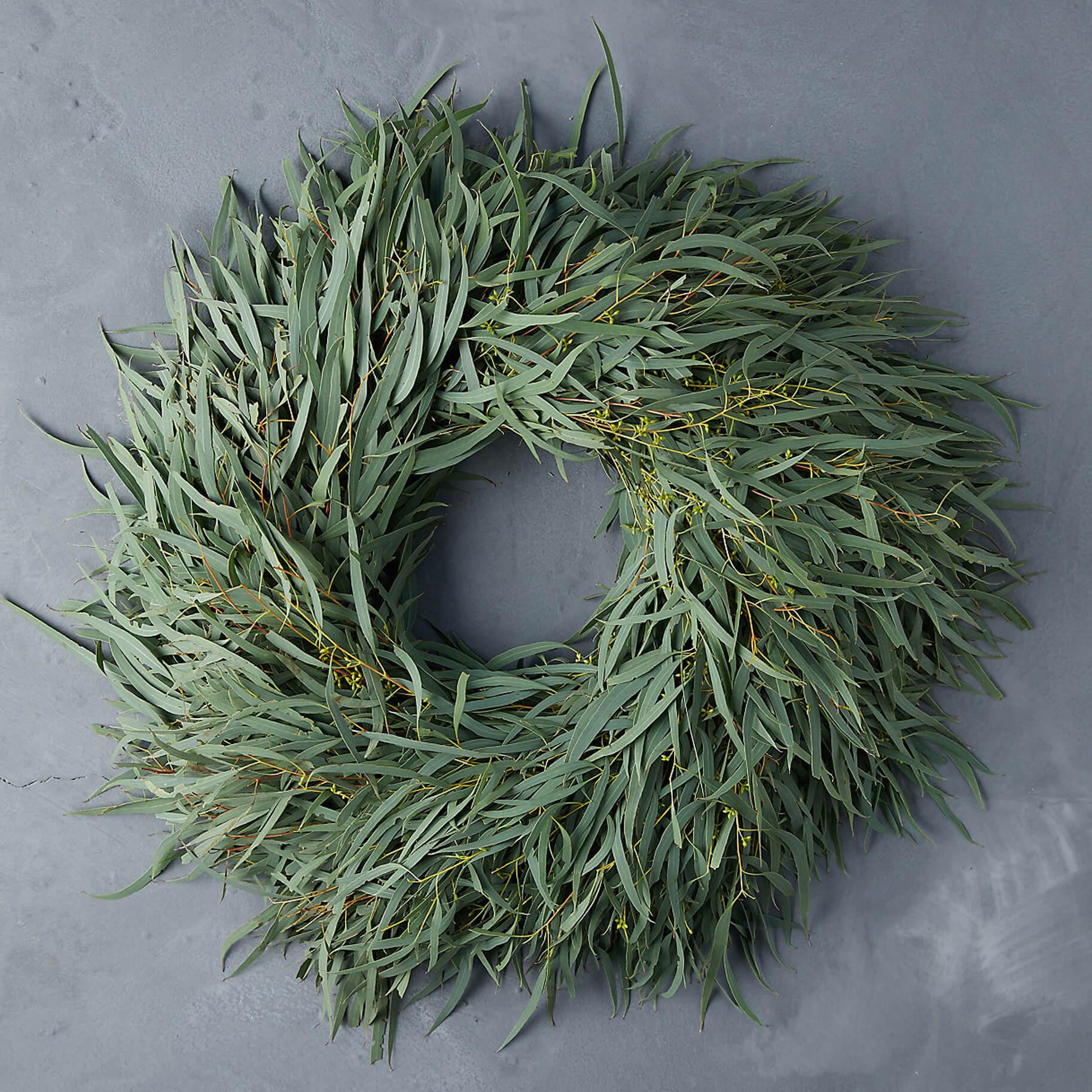 The Best Holiday Wreaths Option: Fresh Eucalyptus Wreath