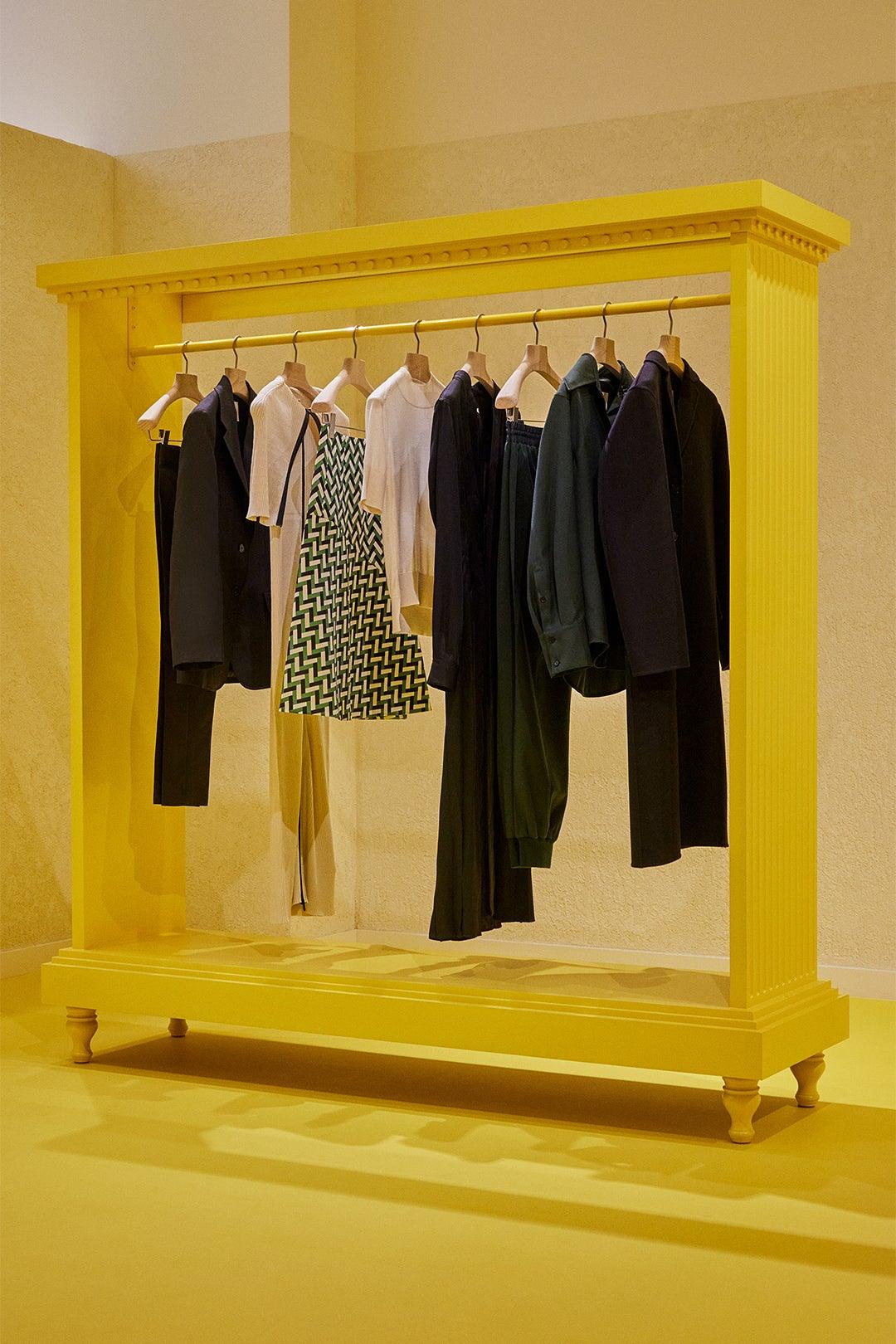 yellow clothing rack