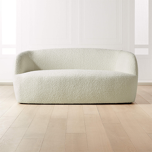Curved Boucle Loveseat