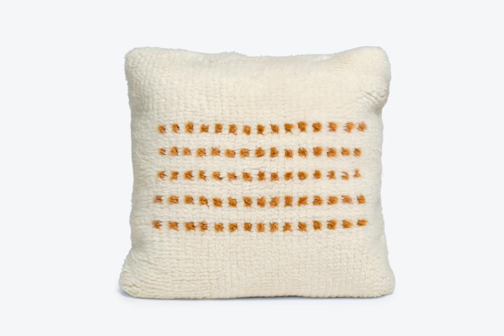 white wool throw pillow
