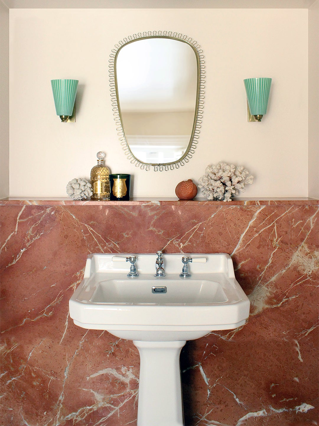 red marble wall