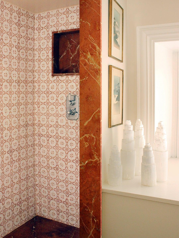old world shower tile