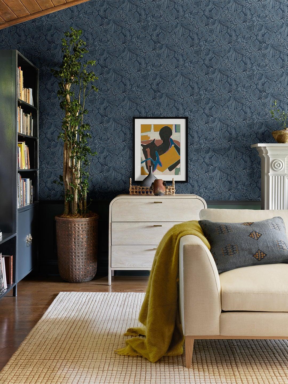 blue intricate wallpaper