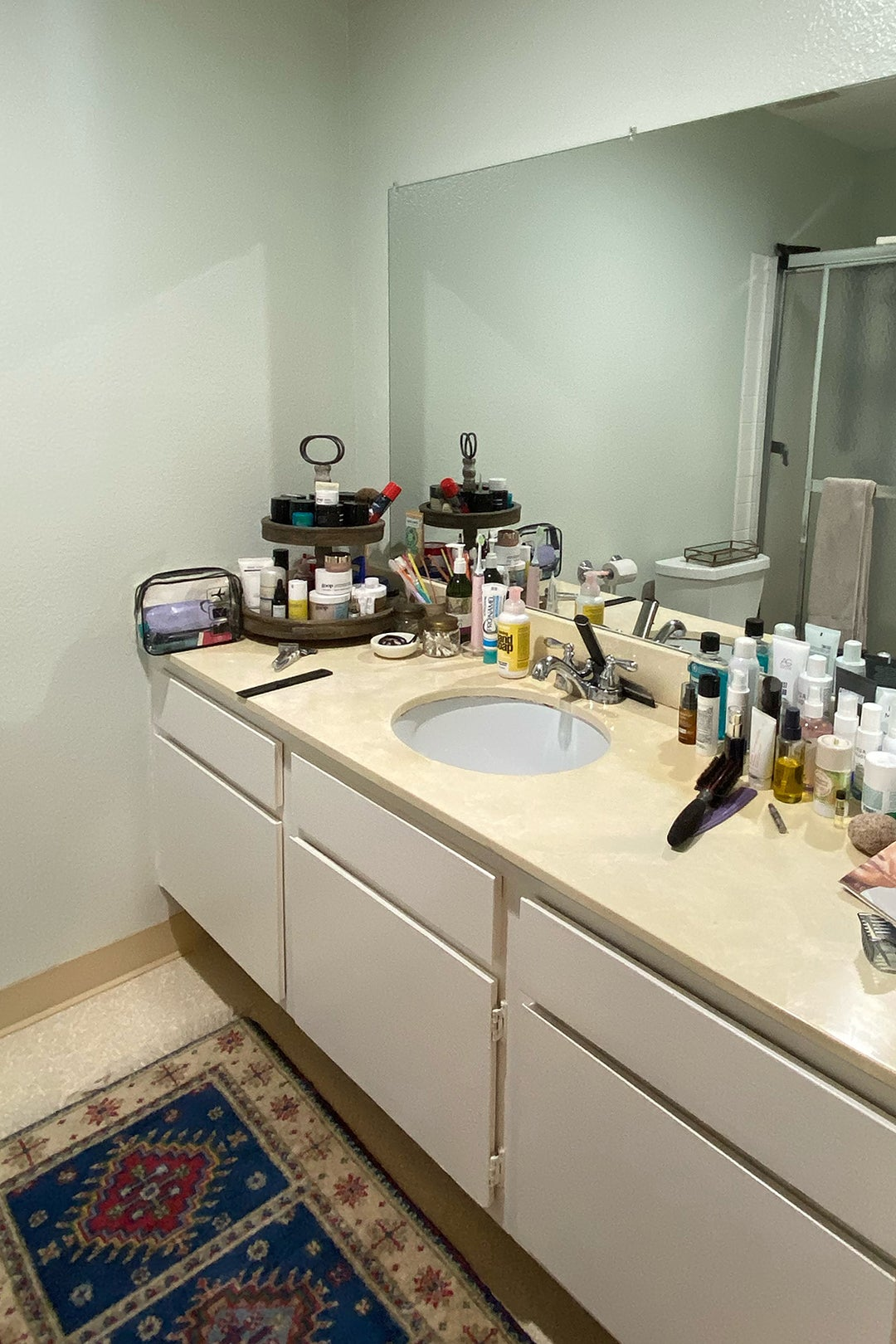 cluttered old vanity