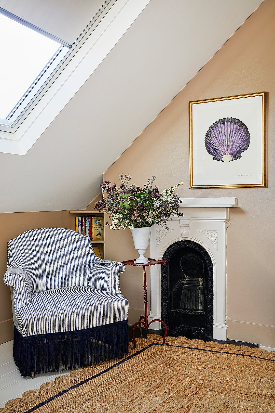 chair under sloped ceiling