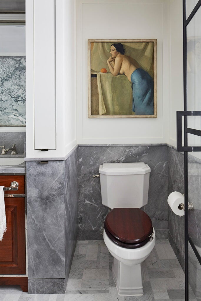 toilet with wood seat
