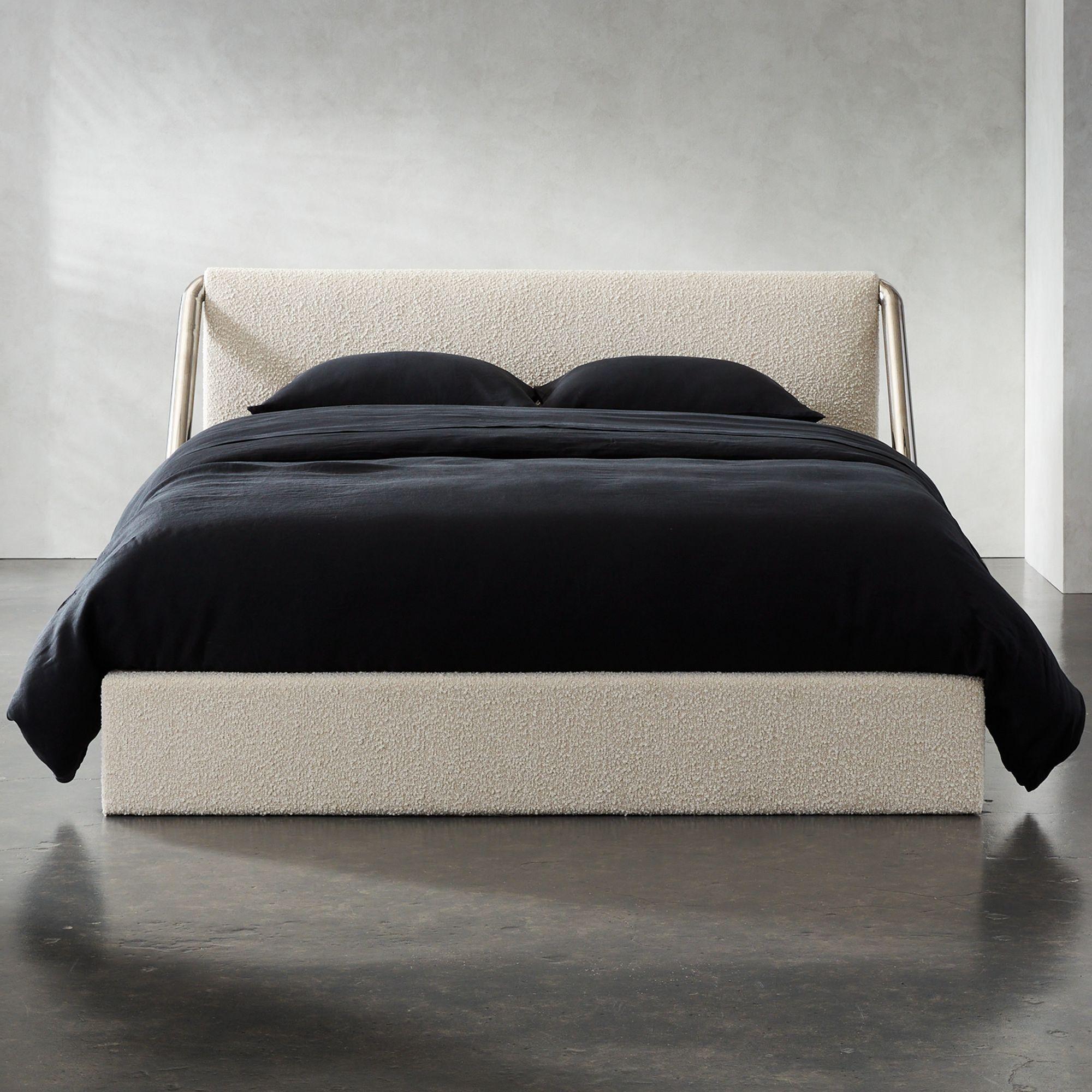 chrome white bed frame