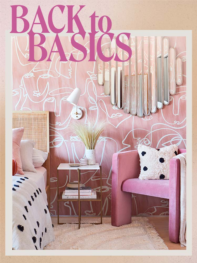 pink wallpapered bedroom