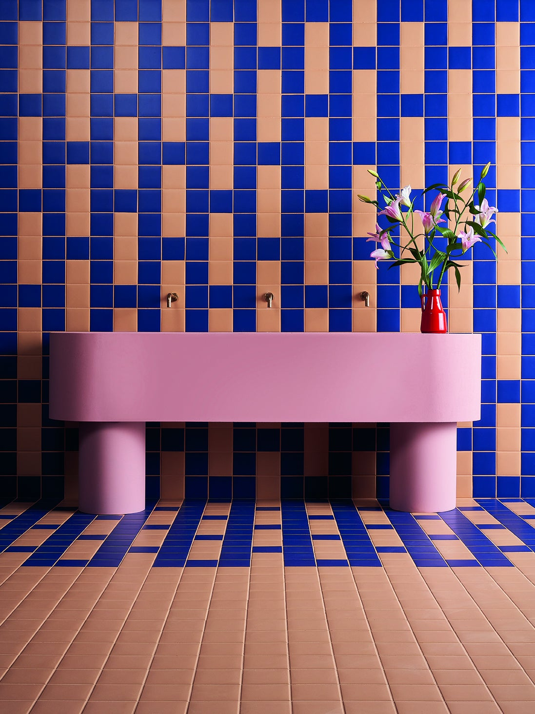 tiled wall and pink console table