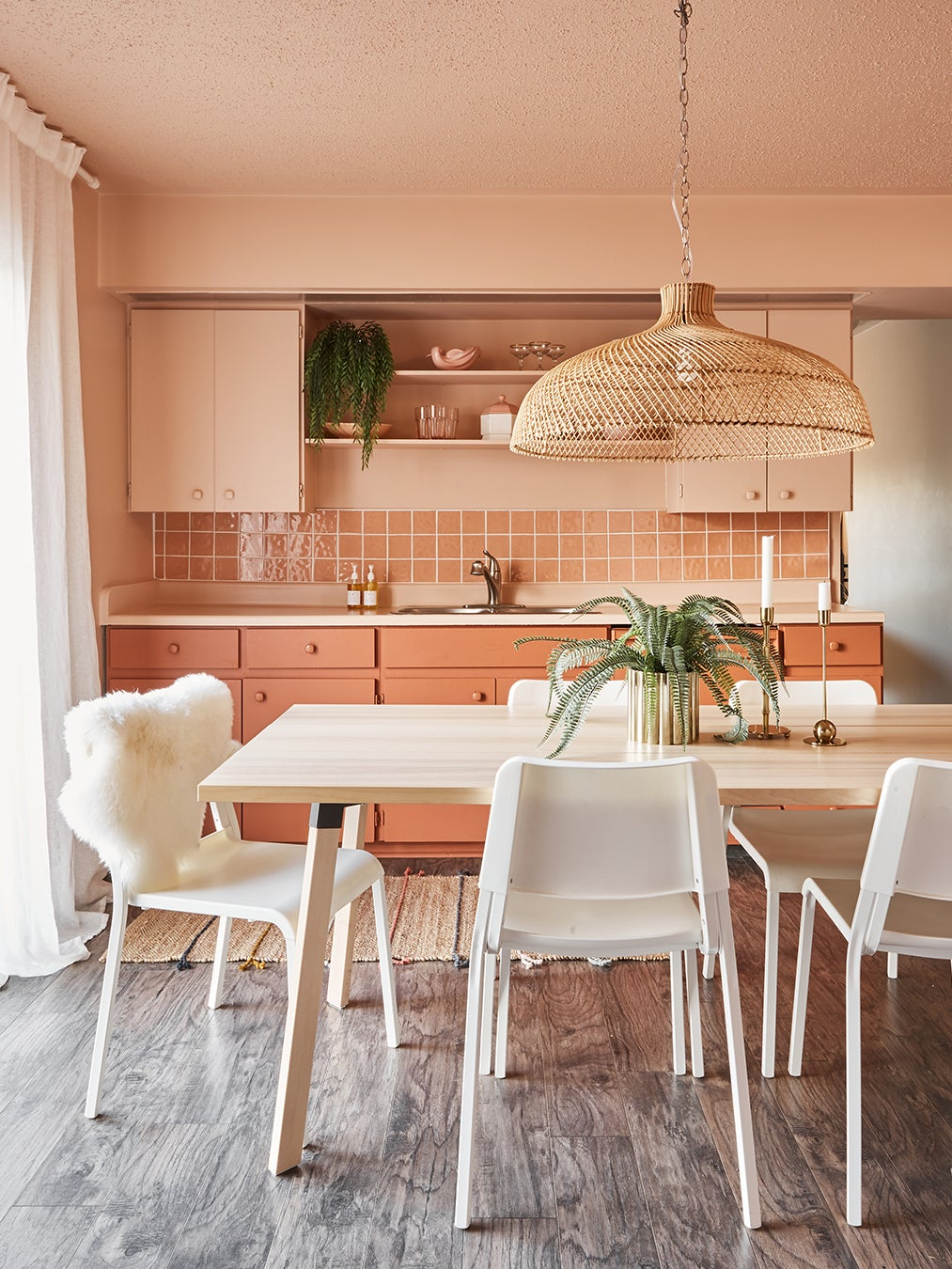 Dine-in kitchen with wood dining table
