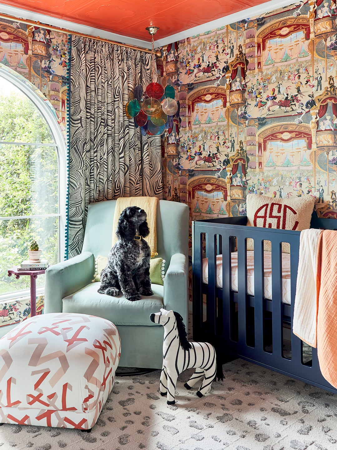 Carnival Nursery with Rocking Chair and Painted Ceiling