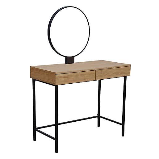 wood vanity with round mirror