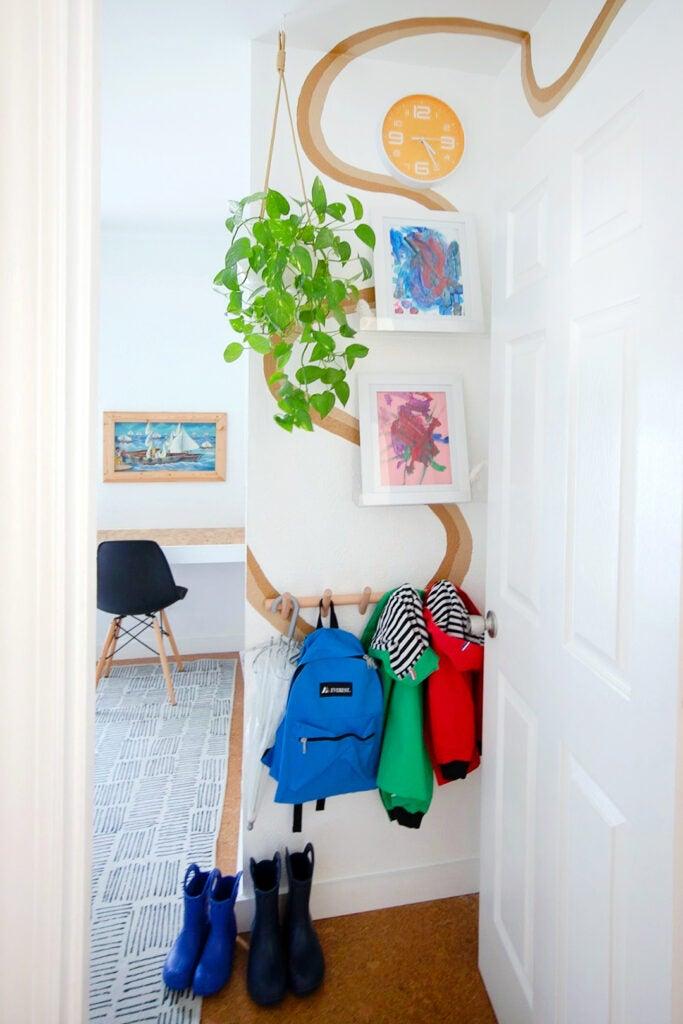 backpacks on wall