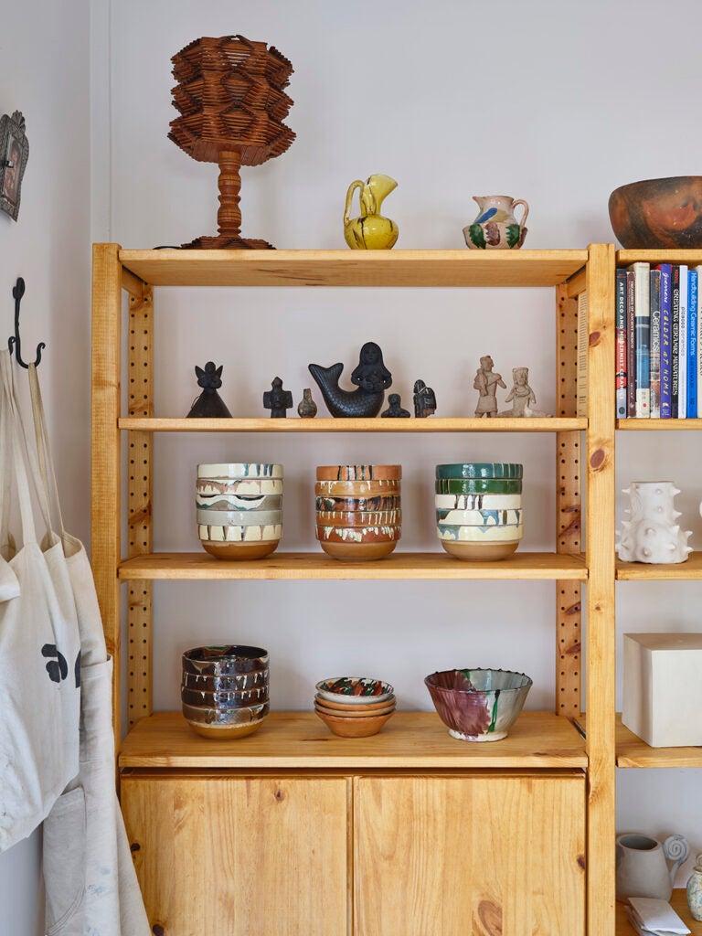 ceramics on shelf