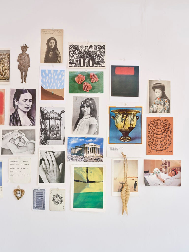 postcards on wall