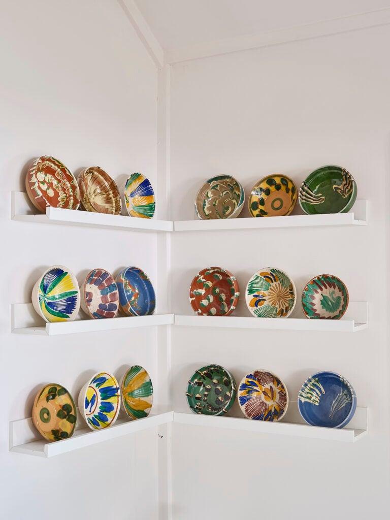 bowls on shelves