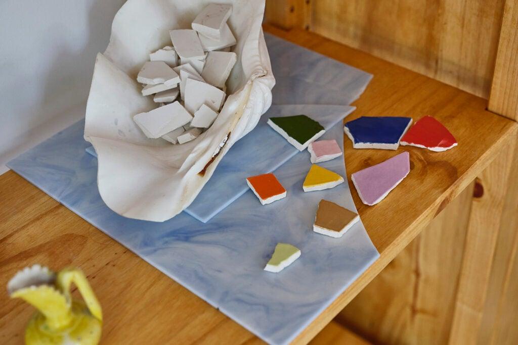 broken ceramic pieces