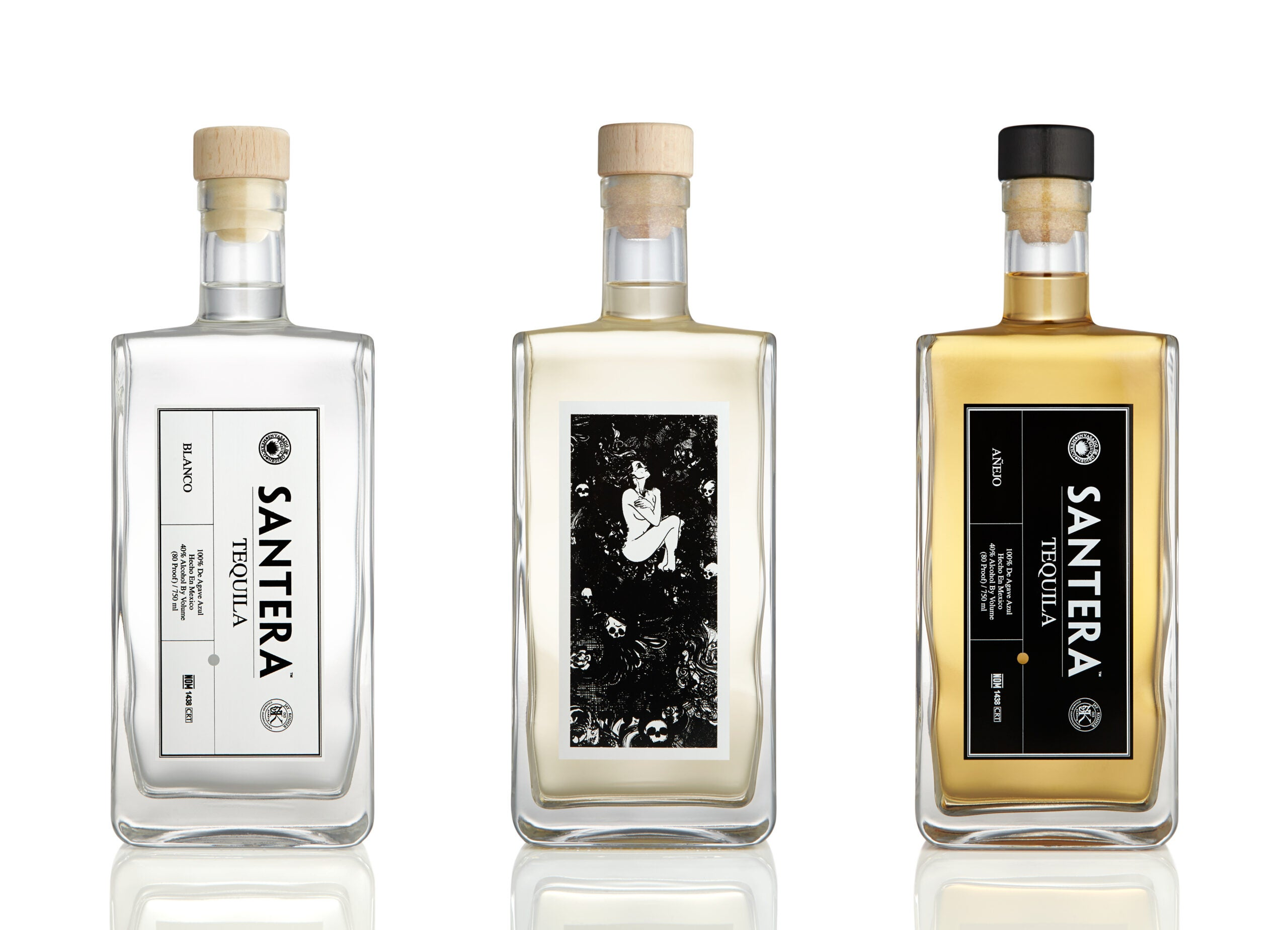 set of 3 tequila bottles