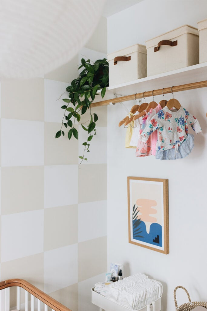 checkerboard nursery accent wall