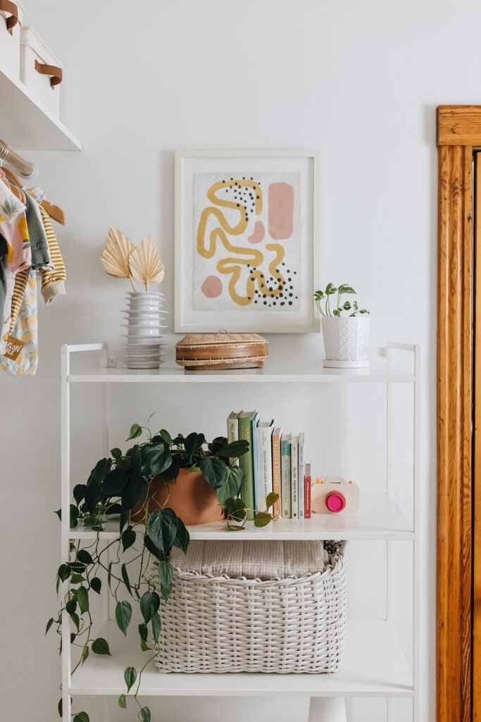 styled nursery bookshelf