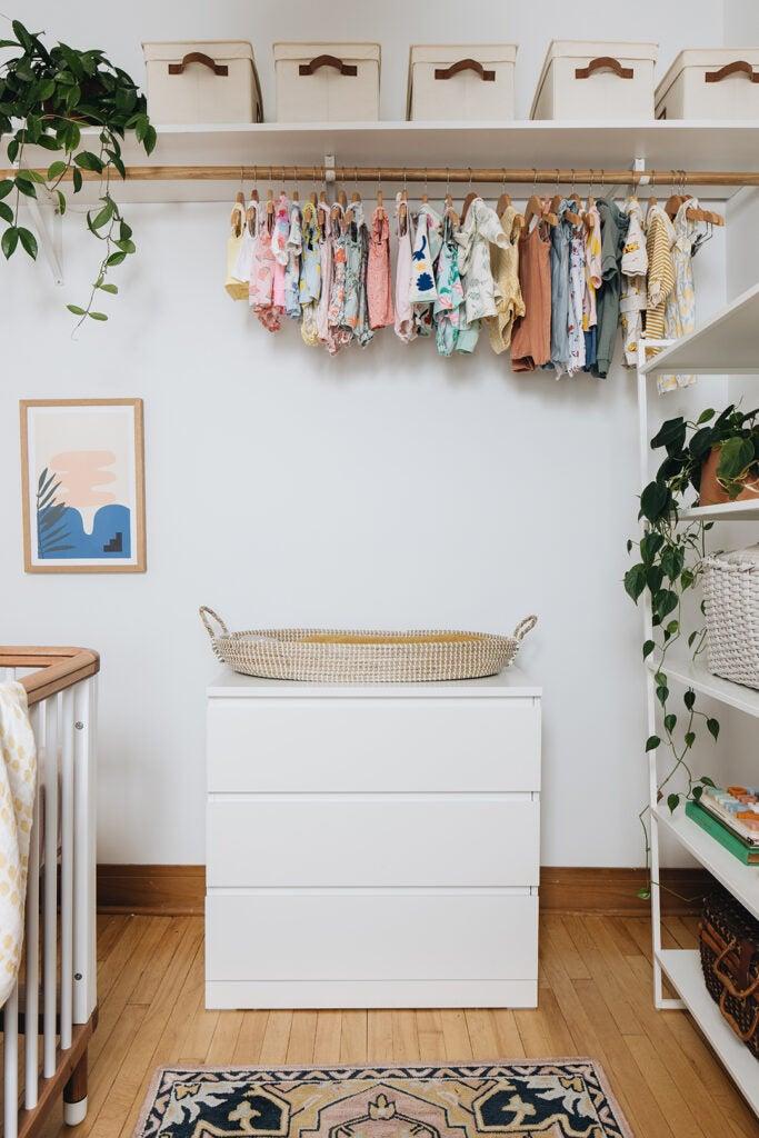 changing basket on dresser