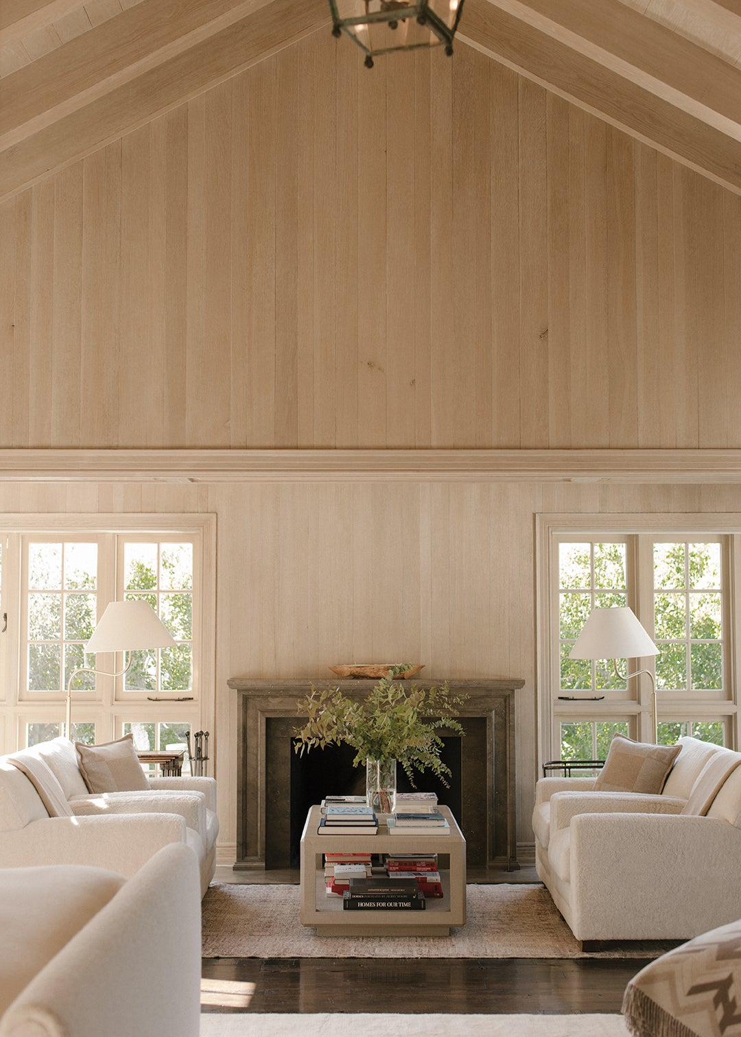 living room with wood paneling