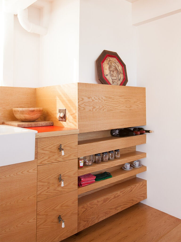 shelving niches in kitchen