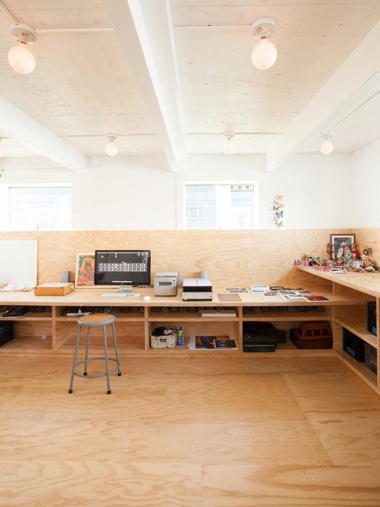 buitl in wood desk