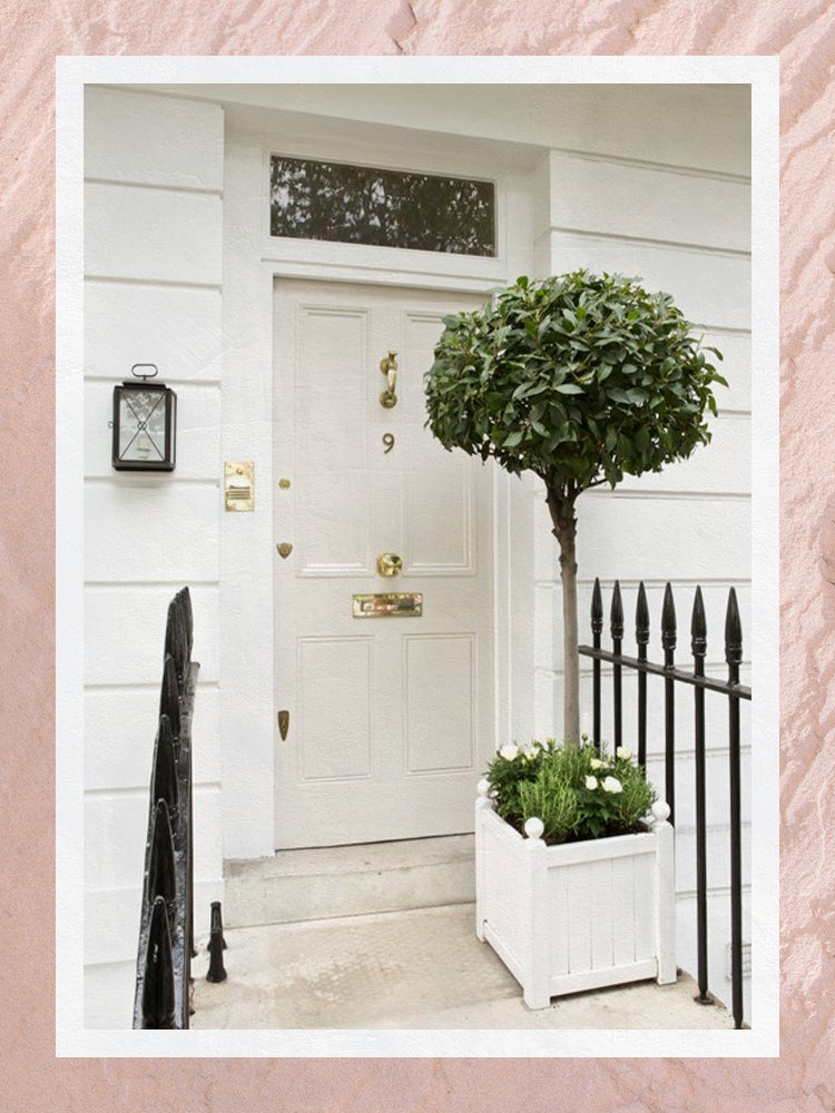 House Exterior by Farrow & Ball with Concrete Paint Entryway