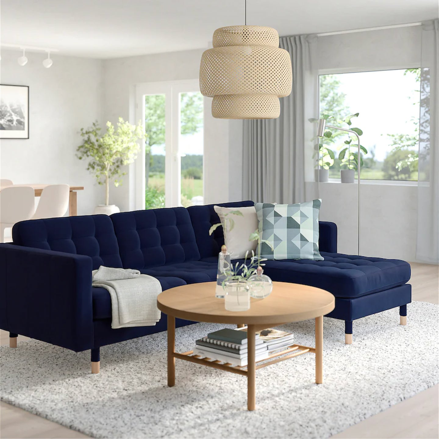 living room with navy sectional couch