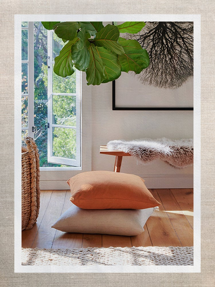Two Throw Pillows Stacked