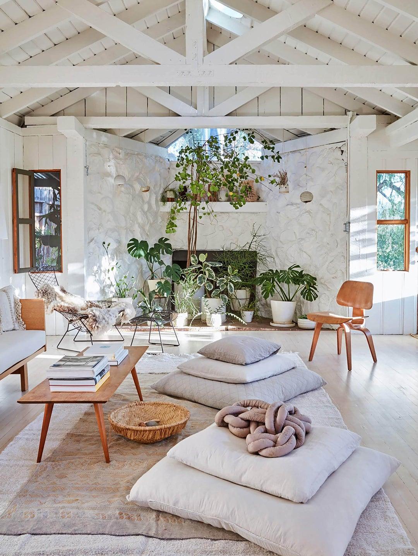 Bright white living room