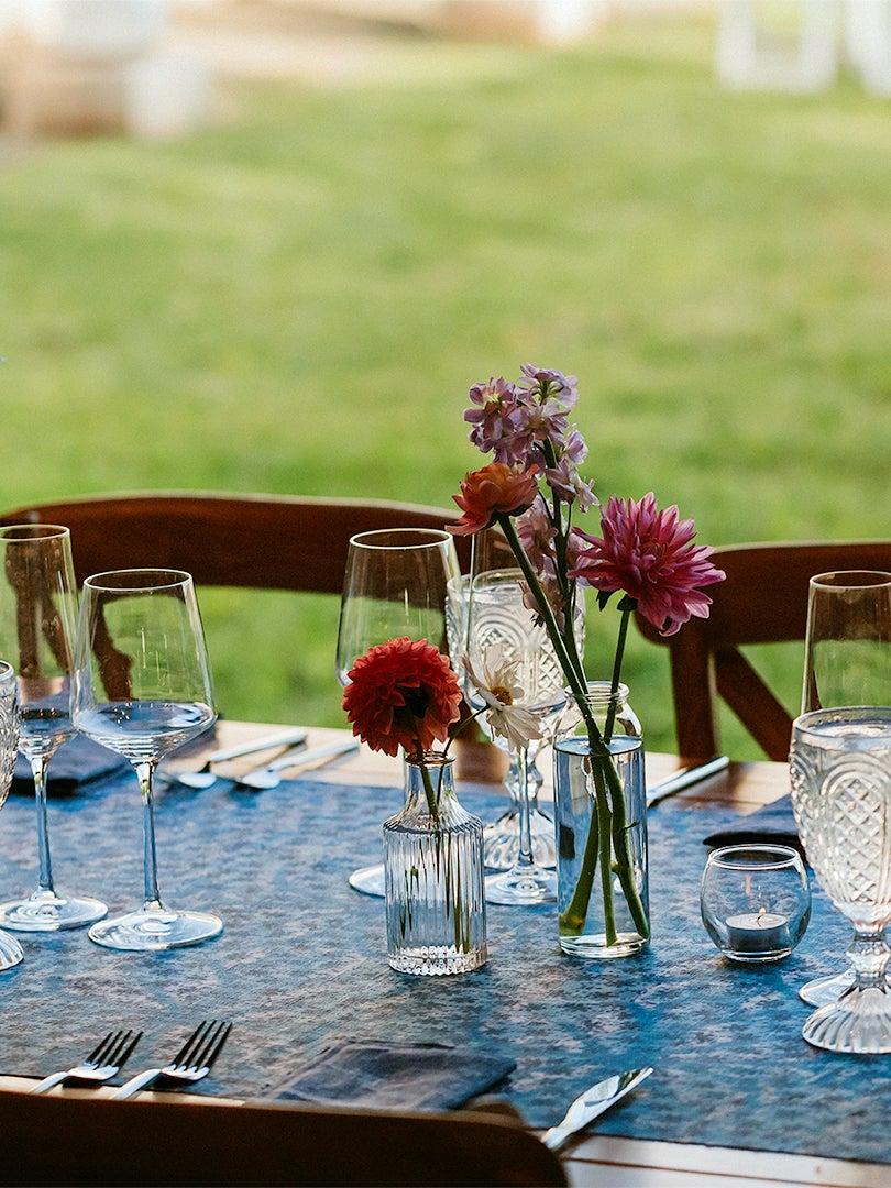 indigo patterned table runner at wedding