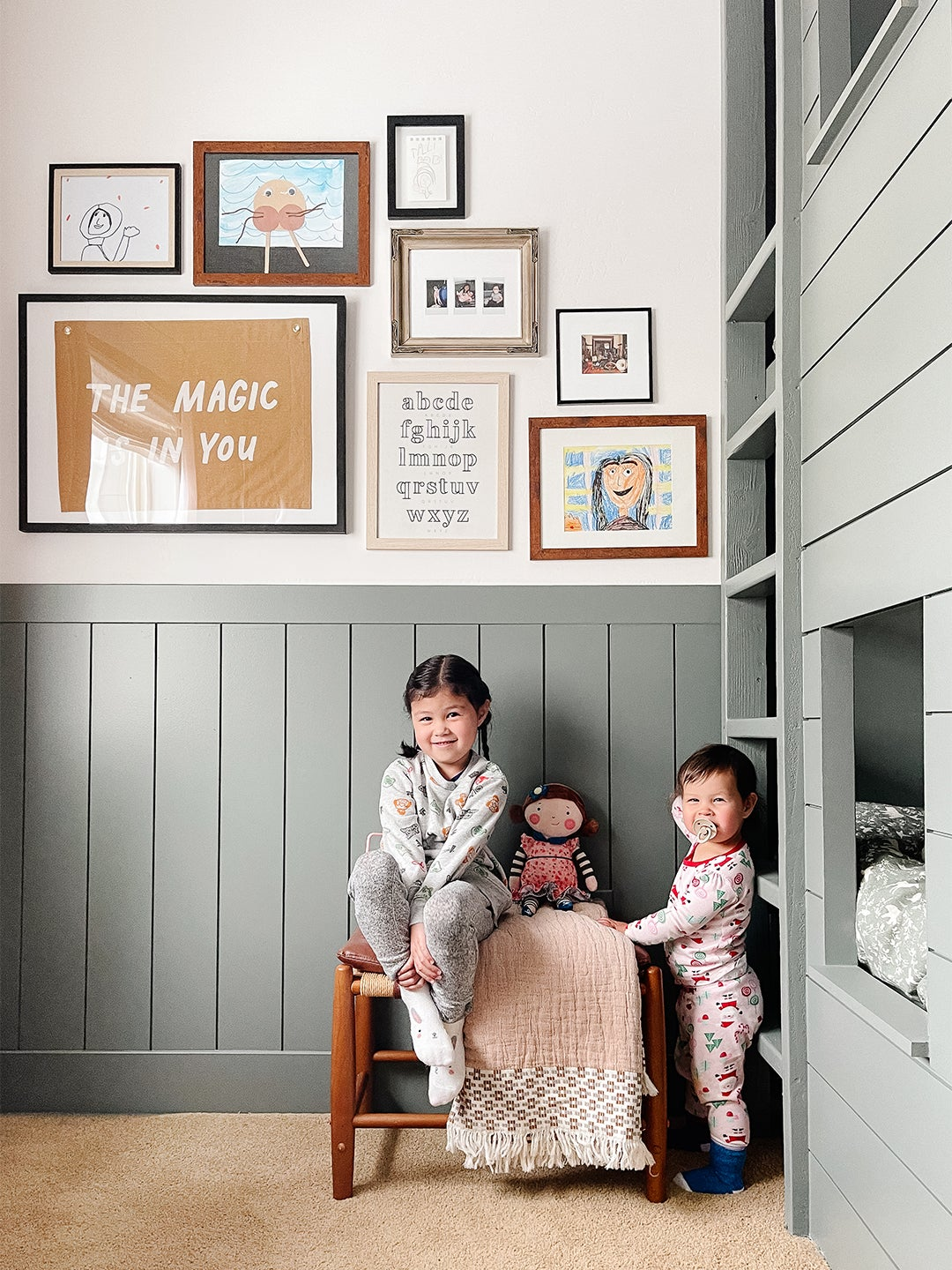 little girls by bunk bed